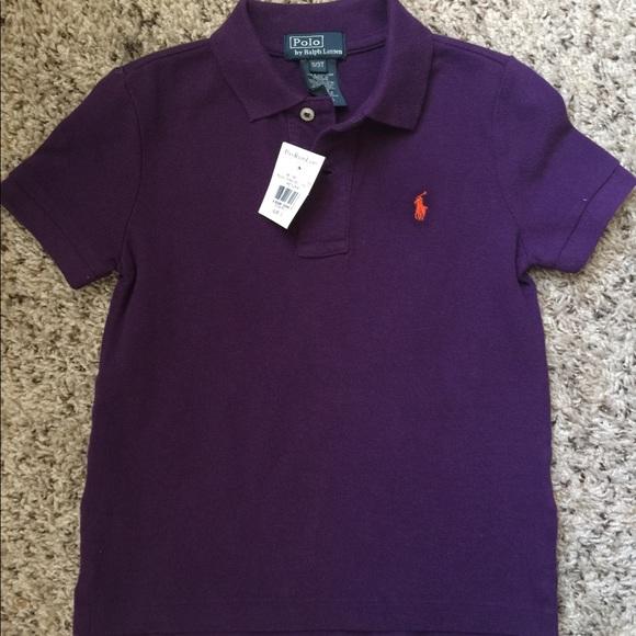Ralph Lauren Boys SS Purple Polo Shirt 14-16 NWT